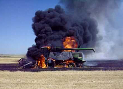 Combine Harvester Fire